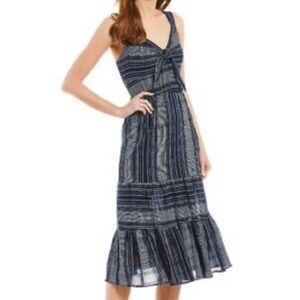 Gibson Latimer Navy & White Stripe Midi Dress